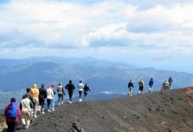 Tag auf dem Vulkan Vulkane Siziliens Trekking auf dem Berg Ätna